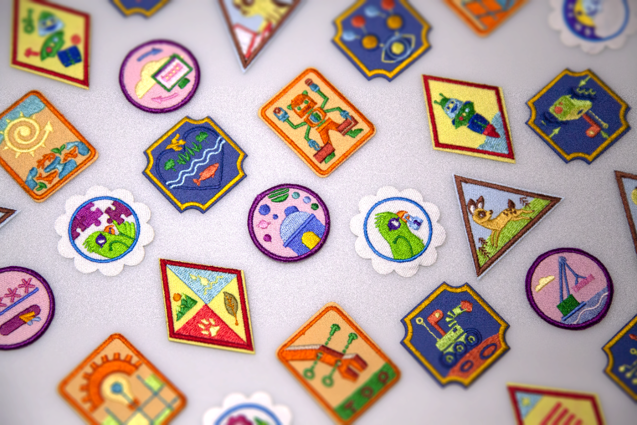 Image of various Girl Scout badges