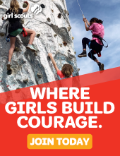 """Where girls build courage"" with image of girls rock climbing"